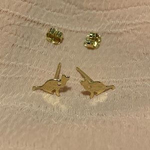 14K solid yellow gold kitty cat earrings studs